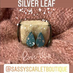 Tranquility Teardrop Earrings with Silver Leaf